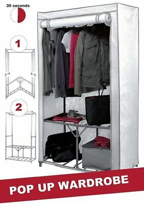 Double Canvas Wardrobe Clothes Hanging Rail Storage Cupboard Shelves Organiser