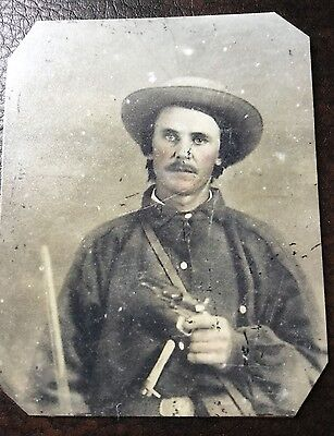 Civil War Heavily Armed Confederate Soldier TinType C042NP