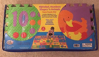 New! Verdes Alphabet Numbers Shapes & Animals Foam Floor Puzzle Play Toddler Mat