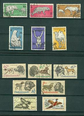 timbres ceskoslovensko  stamps  lot voir scans animaux