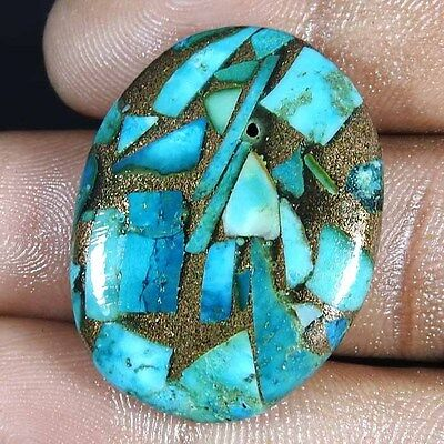 34.15 Cts. NATURAL SKY BLUE COPPER TURQUOISE OVAL ROYAL CABOCHON LOOSE GEMSTONE