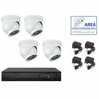 Kit Videosorveglianza Ahd Ip Cloud Dvr 4 Canali 4 Mini Dome Hd Infrarossi 1.3 Mp