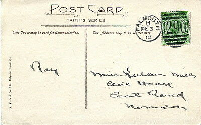 """1912 colour PPC """"St Mawes"""" used with Falmouth """"290"""" duplex cancel"""