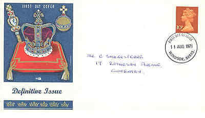 1971 11 August 10p definitive Philart fdc Windsor First Day of Issue cancel