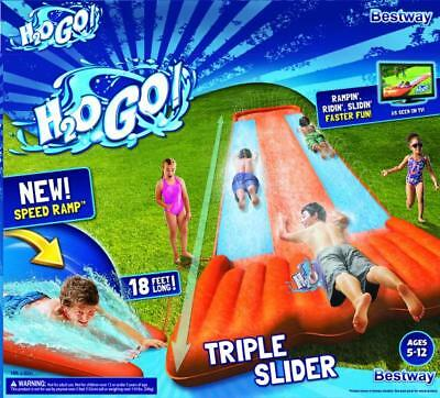 H2Ogo Slip 'n' Slide Mega Triple Slides Deluxe Backyard Water Racer 5.49 m Slide
