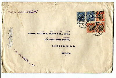 """China 1939 commercial cover Shanghai to London """"via America"""""""