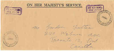 Pitcairn Island 1961 official mail to Toronto Canada