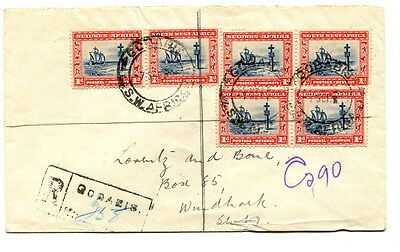 South West Africa 1933 6d. rate registered cover from Godabis to Windhoek