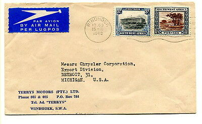 """South West Africa 1948 3d & 1/- Air Mail cover """"GOOD YEAR TYRES"""" Windhoek to USA"""