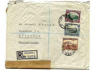 South West Africa 1948 4d, 3d, & 1½d registered cover Windhoek to Czechoslovakia