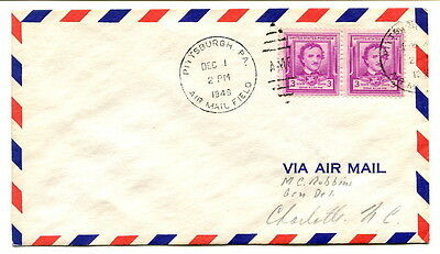 USA 1949 2 x 3c. Air Mail cover Pittsburgh to Charlotte