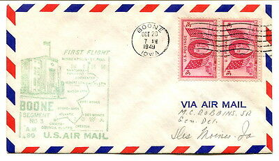 USA 1949 2x3c. First Air Mail Flight cover Route AM 90 Boone to Des Moines