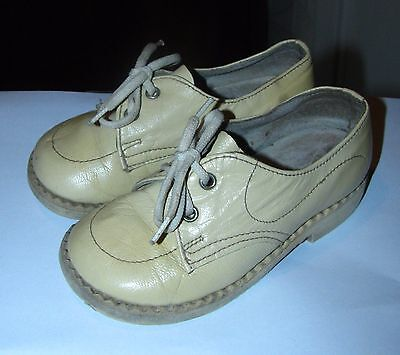 Vintage kids baby leather shoes beige USSR Soviet Lithuania