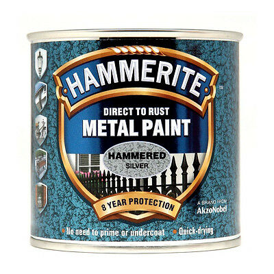 Hammerite Direct to Rust Hammered Finish Metal Silver Paint 250ml