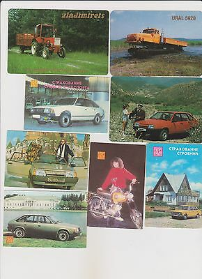 Lot of 8 pocket calendars USSR. Cars, truck, tractor, motorcycle. Rare.