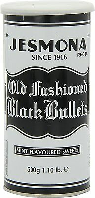 Jesmona Old Fashioned Black Bullets 500g Mint Flavoured Sweets