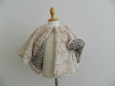 Zara Cream Faux Fur Cape Age 4-5
