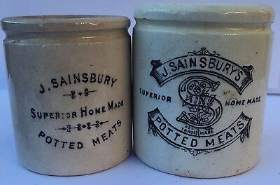 Stunning Pair Of Different J. Sainsbury Potted Meat Paste Pots