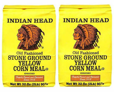 Indian Head Old Fashioned Stone Ground Yellow Corn Meal (Large 2 lb Bags) 2 Pack