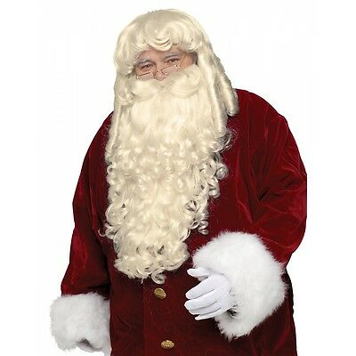 Super Deluxe Santa Claus Wig and Beard Set Adult Christmas Costume