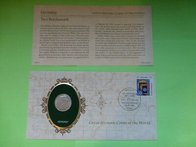 Germany Two Reichsmark Historic Coins of the World Coin & Descriptive Sheet