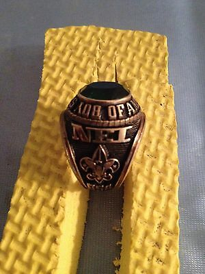 Boy Scout Bsa National Executive Institute Nei Gold Colored Ring Green Stone 9
