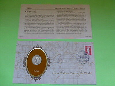 France One Franc Historic Coins of the World Coin & Descriptive Sheet