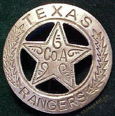 Old West Texas Rangers CoA western silver lawman badge #BW24