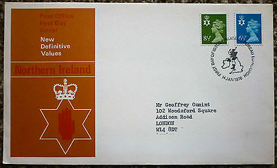 GB 1976 New Definitive Values Northern Ireland FIRST DAY COVER bureau