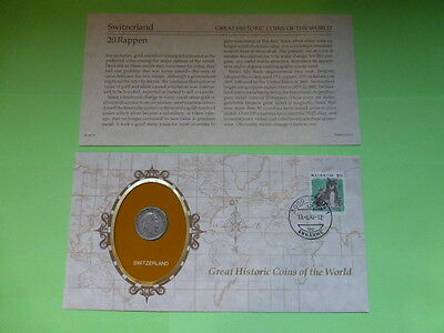 Switzerland 20 Rappen Great Historic Coins of the World Coin & Descriptive Sheet