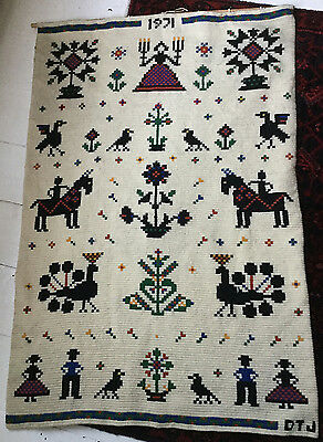 Original 70s Vintage Scandi Hand Woven Rug Wall Hanging