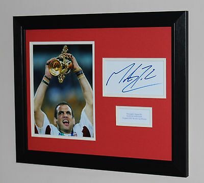 Framed Martin Johnson England Rugby 2003 HAND SIGNED Autograph Photo Mount COA