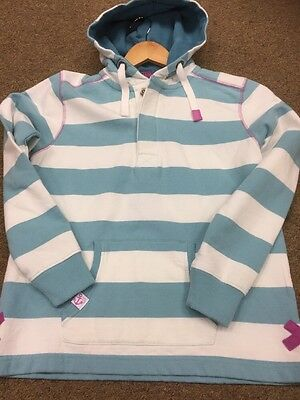 LAZY JACKS GIRLS STRIPED HOODIE Age 9 / 10 PALE TURQUOISE AND WHITE