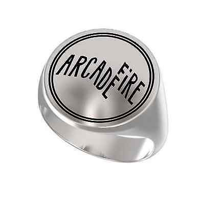 Arcade Fire Music Rock Band Engraved Round 925 Sterling Silver Ring Arcade Fire