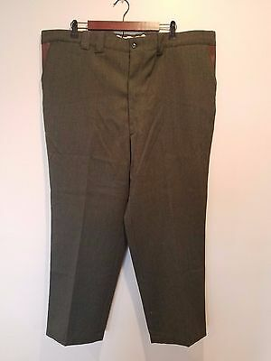 Vintage LL BEAN Mens Green 100% Wool Hunting Leather Pants 46 X 29 44 30 NEW