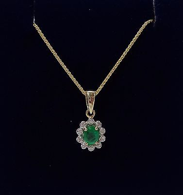 9ct Emerald and Diamond Cluster Pendant with Chain in Yellow Gold