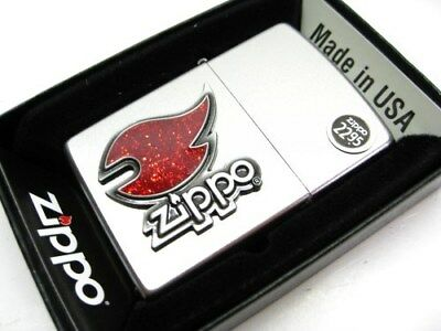 ZIPPO Full Size Satin Chrome Red FLAME Emblem Classic Windproof Lighter! 28847