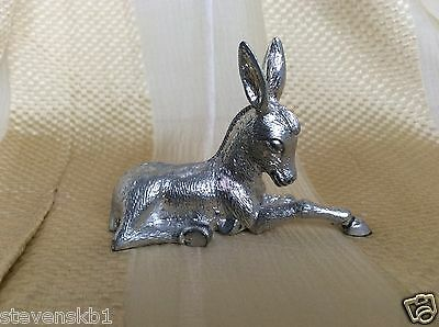 """Silver Plated Reclining Donkey Miniature Figurine 2.25"""" (Mint/unboxed)"""