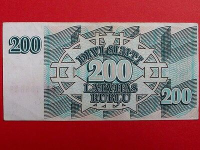 LATVIA 1993, 200 Latvian Rouble Banknote Very Fine Condition.