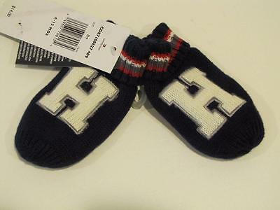 "NWT Toddler Boys Tommy Hilfiger Mittens Navy Blue Red White Gray ""H"" 6-12 Mo"