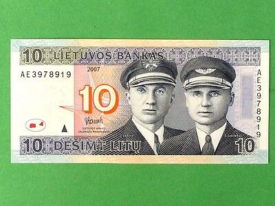 LITHUANIA 2007, 10 Litu Collectible Banknote. Uncirculated