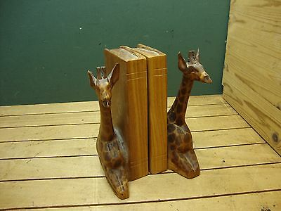 Pair of Wooden Carved Giraffe Bookcase Shelf Bookends