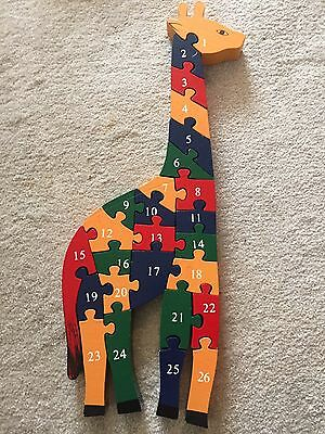 Large Wooden Giraffe Shaped Jigsaw Puzzle -Numbers & Alphabet-Educational Toy