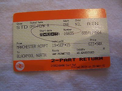 Train Ticket, Used, England, British Rail, Manchester, Blackpool