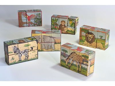 Children Develpoment Puzzle Toy Wooden Blocks Safari Animal Picture Gift