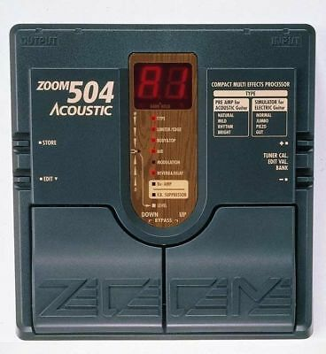 Zoom 504 Acoustic Guitar Multi Effect Pedal Manual & Power Supply