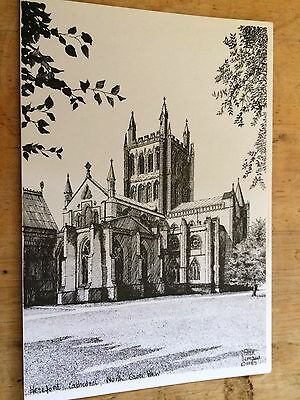 Old Postcard Sketch of Hereford Cathedral East View