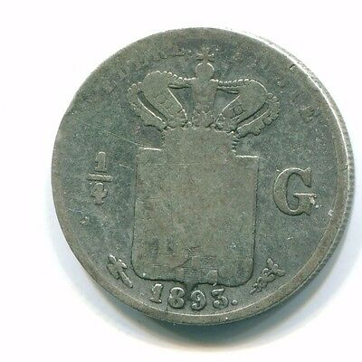 1893 Netherlands East Indies 1/4 Gulden Silver Colonial Coin Nl10431#4