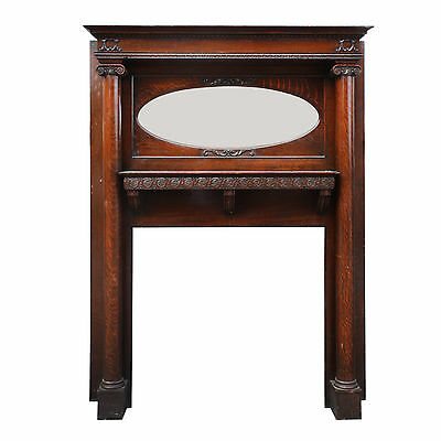 Antique Quarter Sawn Oak Fireplace Mantel with Oval Mirror, NFPM123