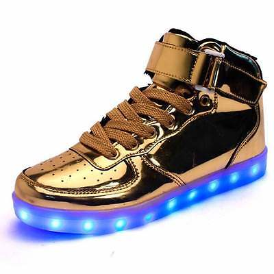 High Top LED Light Lace Up Unisex Sportswear Sneaker  gold/silver/black/white